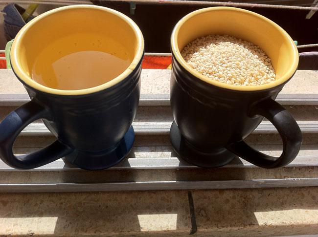 1 כוס שומשום, 1 כוס מים