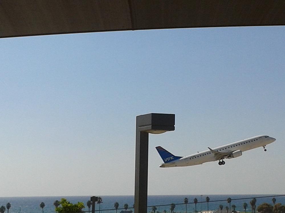 מטוס ממריא דרך גינה