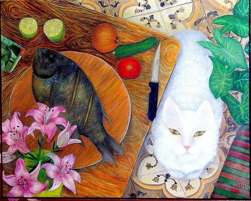45x35cm_חוה יהב_החתול הדג והאדם  שמן_שמן על בד_ מידה כוללת מסגרת