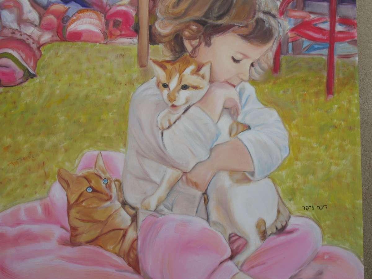 80x80 oil on canvas_ ילדה עם חתולים_ שמן על בד_דינה זייפר