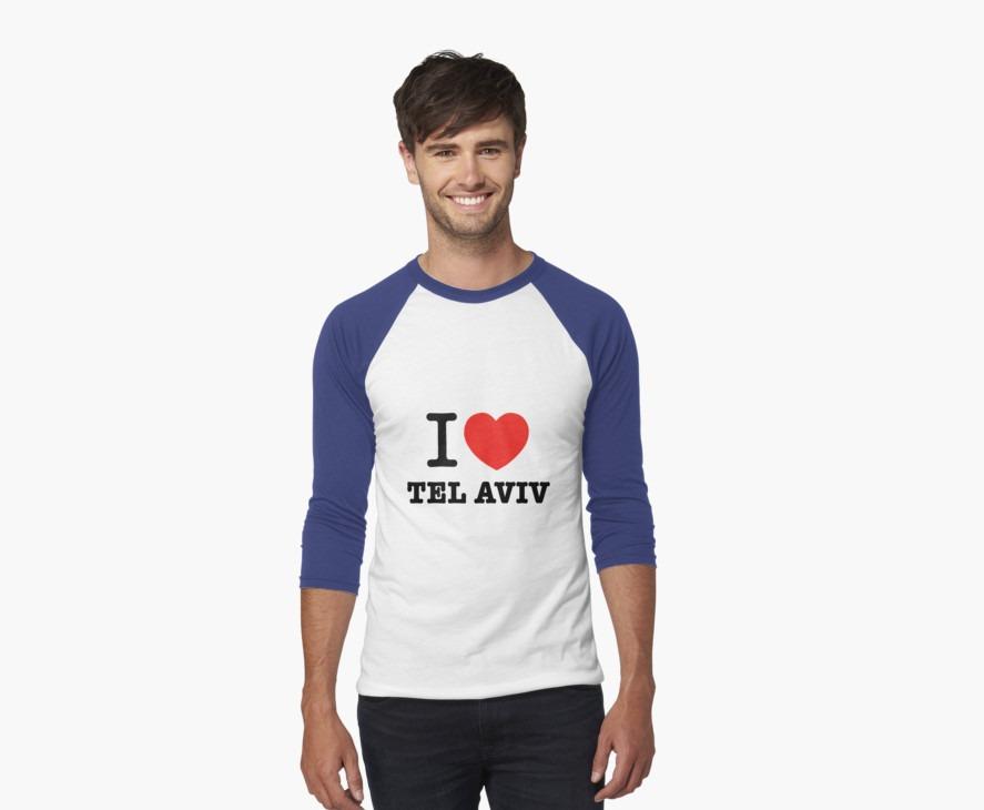 I love Tel Aviv baseball T shirt