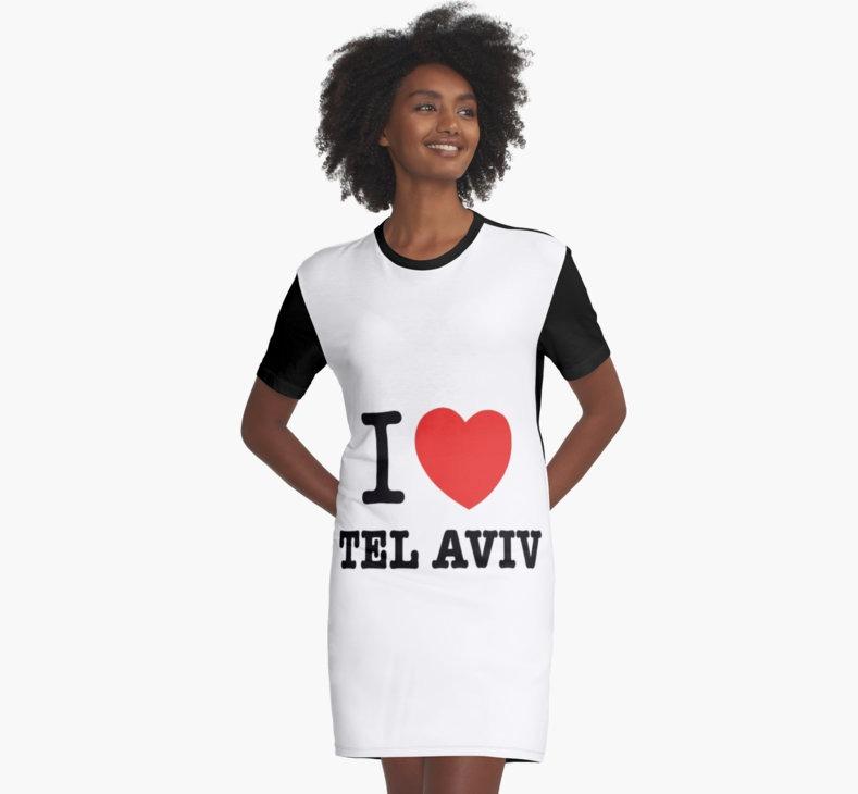 i love Tel Aviv T shirt dress