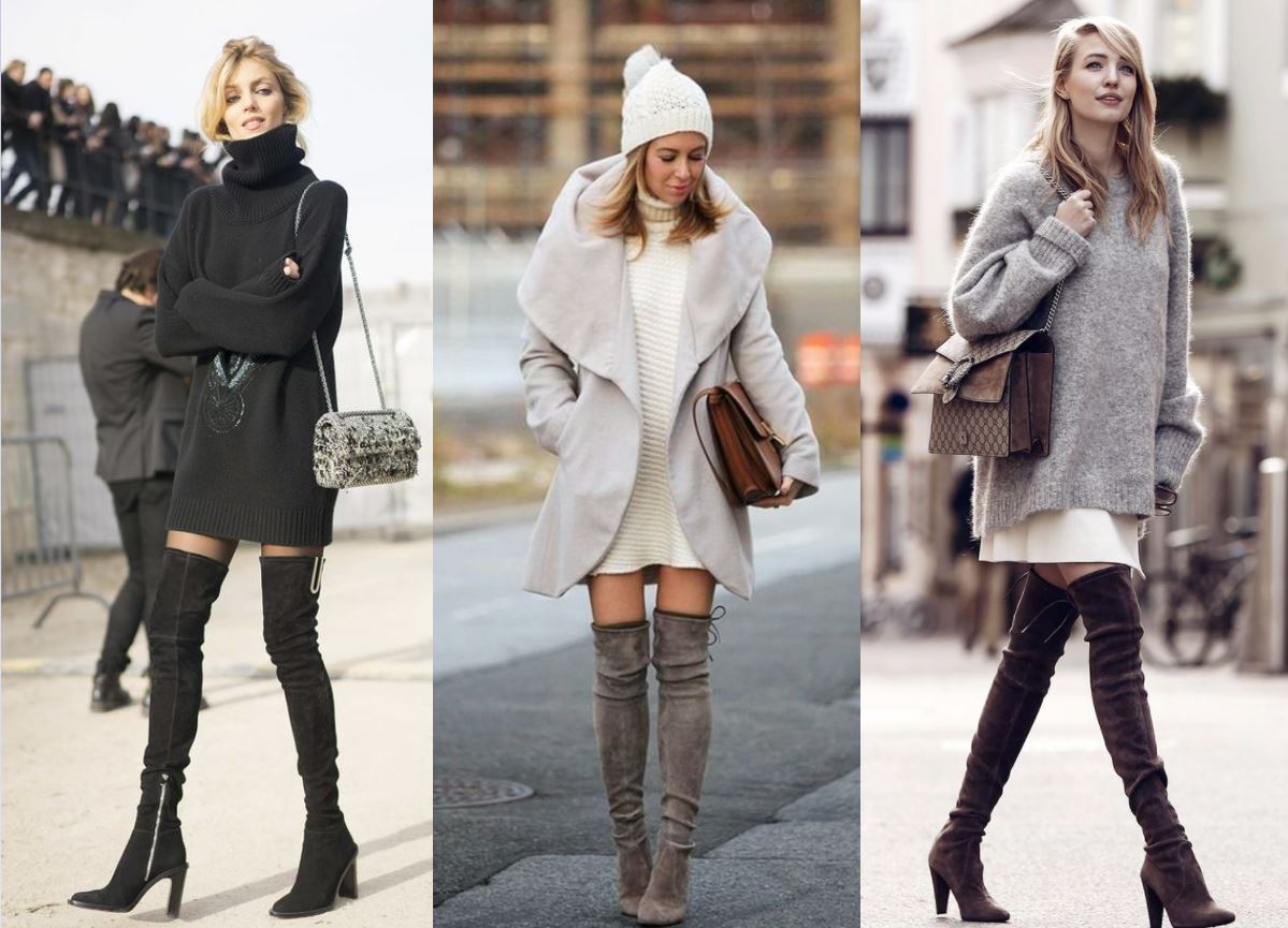 over the knee boots sweater 1