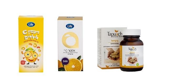 """ויטמין C לילדים, ואסטר  C של לייף, טבליות גרבידול ג'ינג'ר עם ויטמין C של תפוח (צילום: יח""""צ סופר-פארם)"""