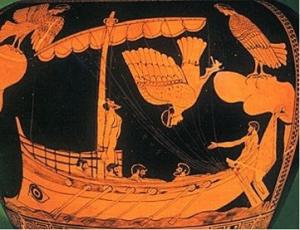 Odysseus & the Sirens  Greek vase
