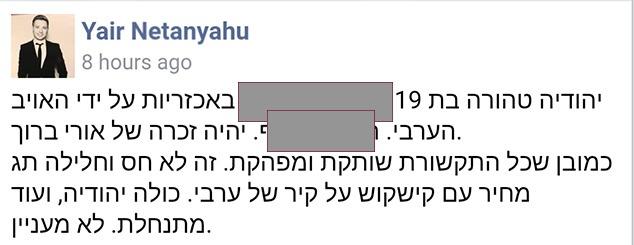 ציוץ אכזרי של יאיר נתניהו (צילום מסך מפייסבוק)