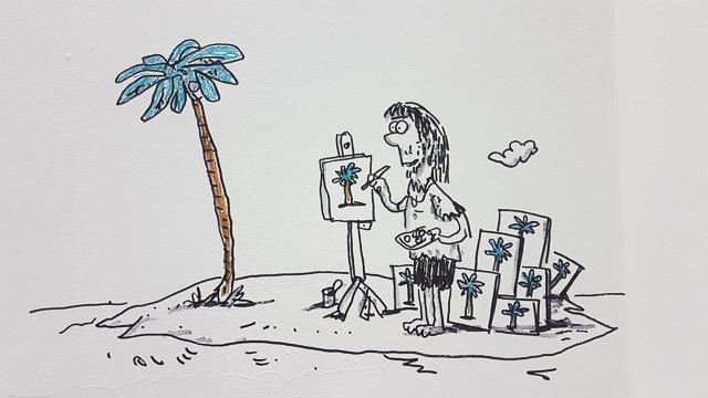 """איור מתוך התערוכה """"בועת ציור"""" של ניר מולד ועמוס אלנבוגן"""
