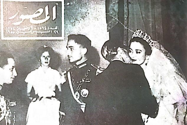 """המלך חוסיין ודינה מתוך הספר """"ללכת שבי""""  צילום שער השבועון המצרי אל מצוור"""