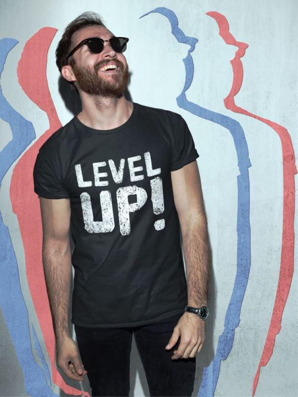 LevelUp tee GamefulHeroes Merch 4 Gamers