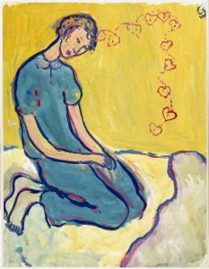 """מתוך """"חיים או תיאטרון"""", תיאור של ילדה יושבת על מיטתה וחולמת על אהבה."""