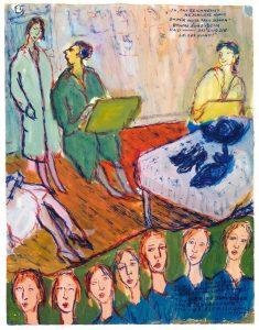 """מתוך """"חיים או תיאטרון"""", תיאור של הסצנה בה נלקח משרלוטה הפרס בתחרות האומנות."""