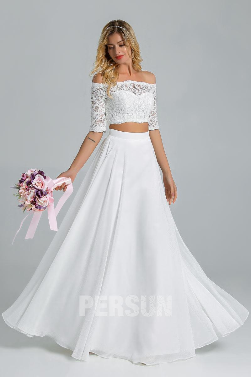 robe mariage plage bohème deux pièces haut dentelle épaules dénudées