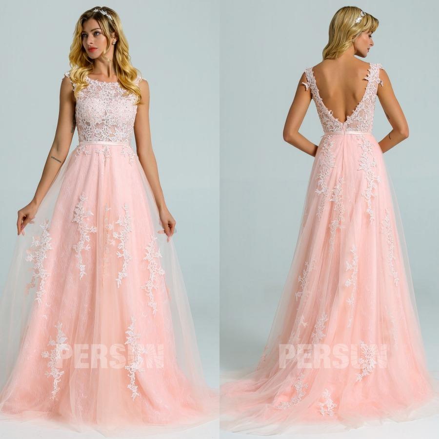 robe mariée vintage rose perle dentelle appliqué de guipure dos échncré