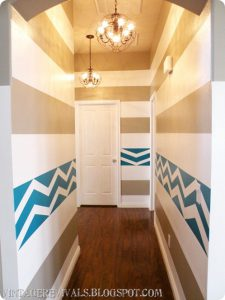 decorate-a-hallway-striped-chevron-painted-wall-vintage-revivals-via-remodelaholic