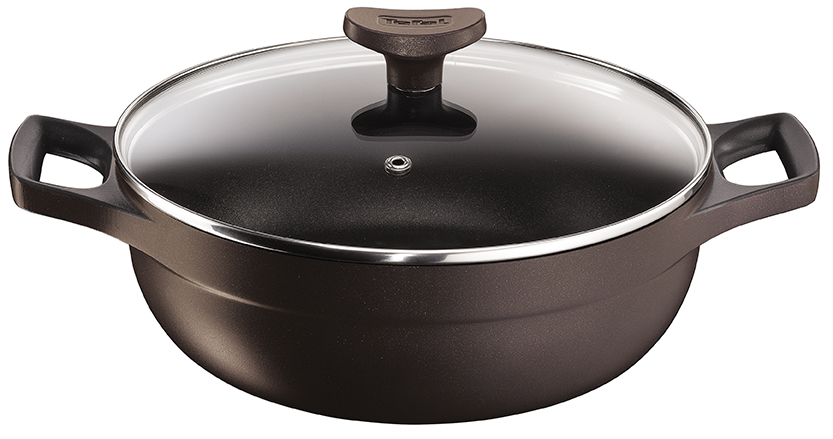 TEFAL-COOKWARE-MINERAL_SIGNATURE-CAST_ALUMINIUM-WHITFORD_BROWN-SHALLOW_LID סוטאז 309.90 ₪ גודל 24