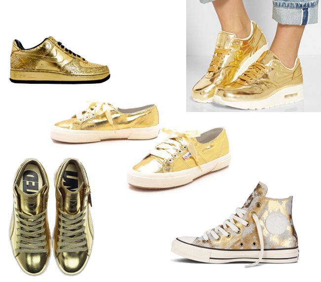 Gold Sneakers - Classic