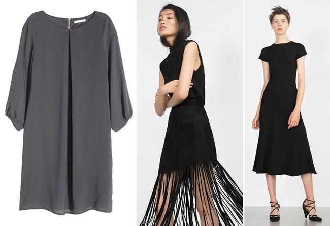 | מימין: שחור ושחור של Zara, אפור של H&M |