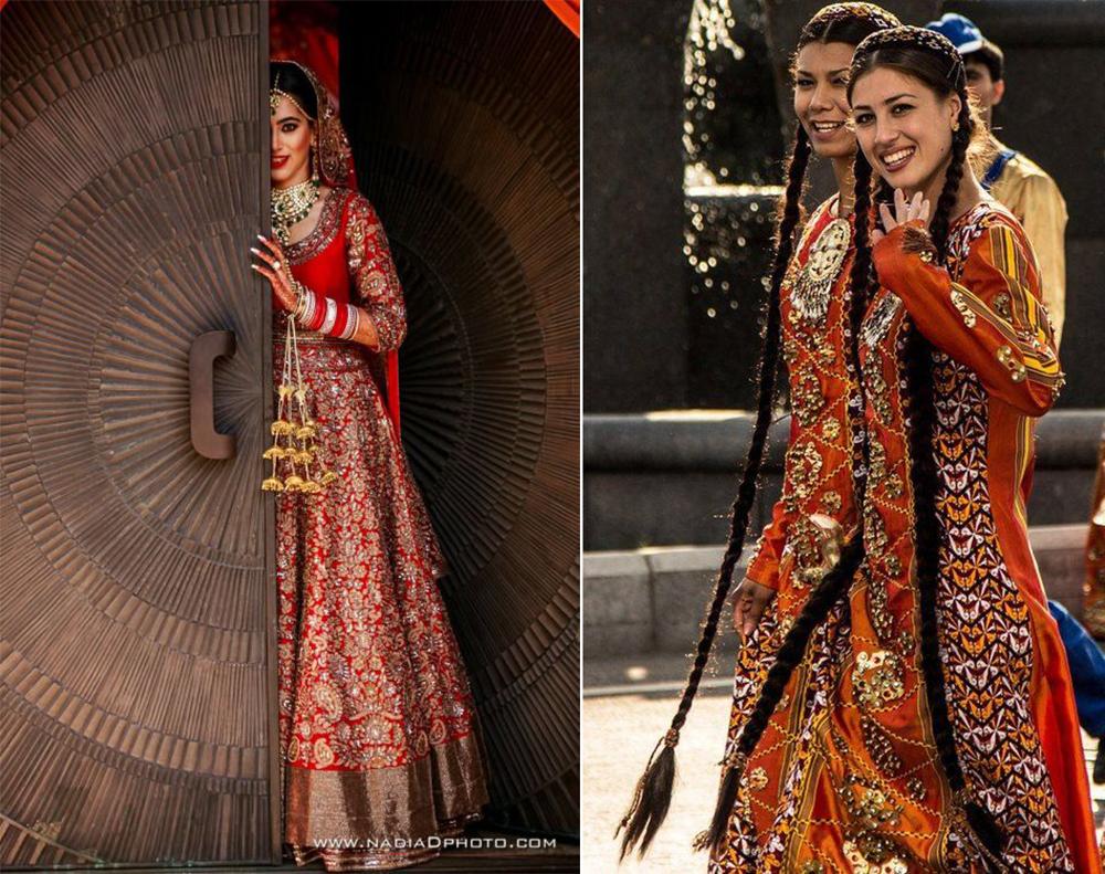 | השראה: טורקמניסטן (מימין); כלה מג'איפור, הודו |