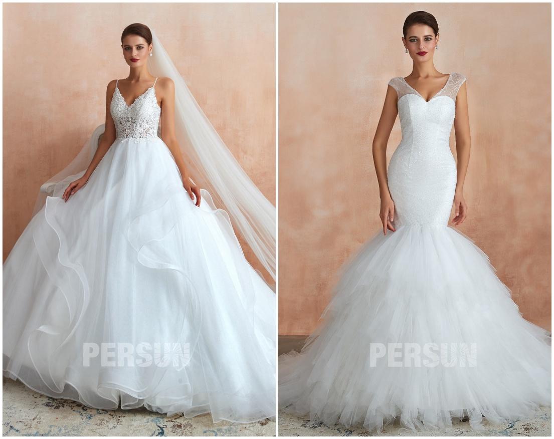 robe mariée classique princesse & sirène col v jupe fourfour
