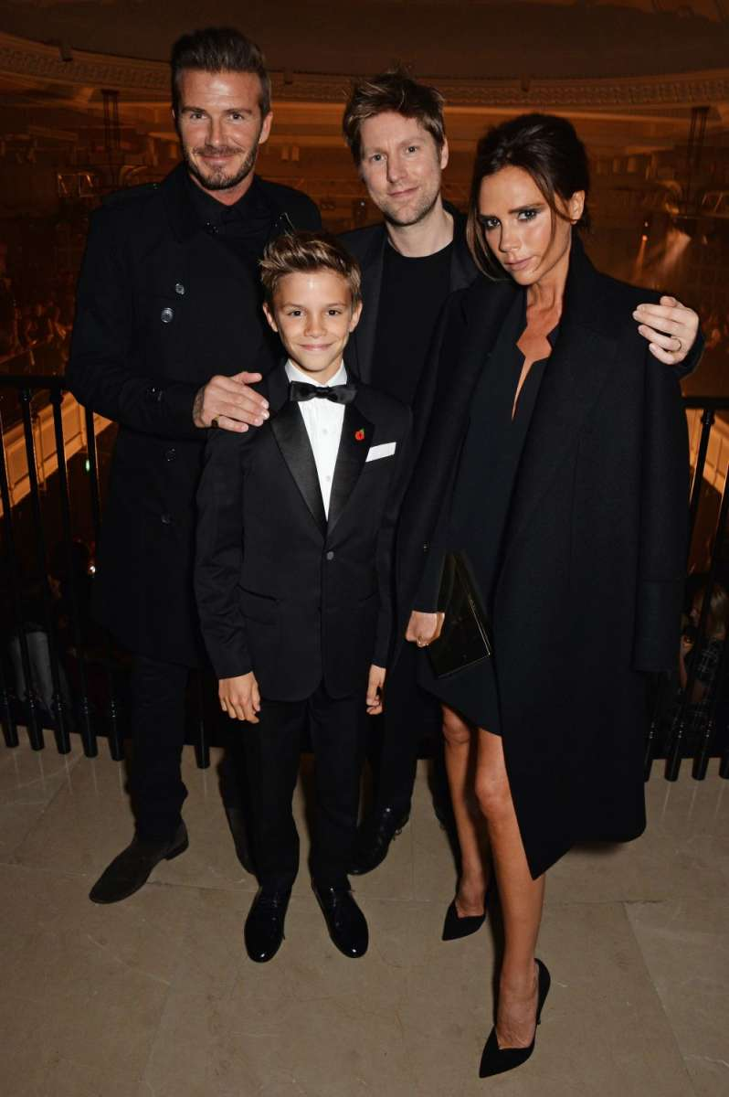 resized_Christopher Bailey, Romeo, David and Victoria Beckham at the launch of the Burberry festive campaign