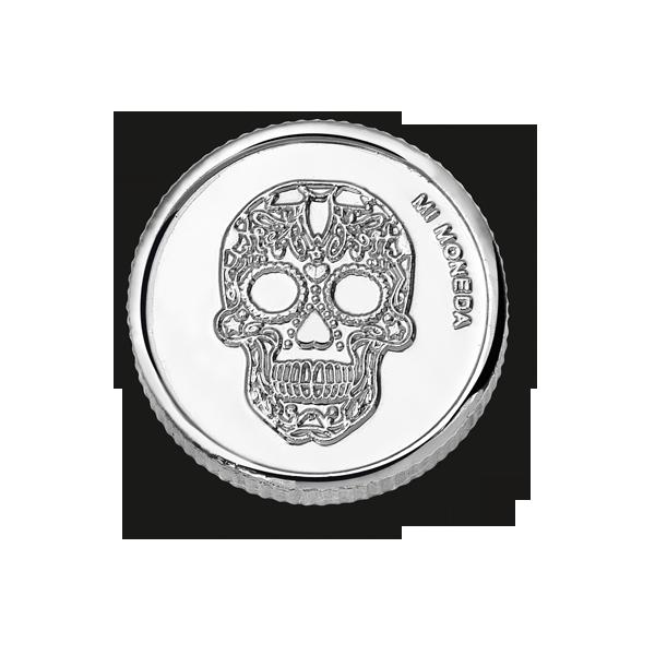 המותג Mi Moneda מטבע גולגולת ציפוי כסף טהור_מגיע במגוון גדלים_ בתמונה מידה M במחיר  67שח צילום יחצ חול דגם Skull Silver - עותק