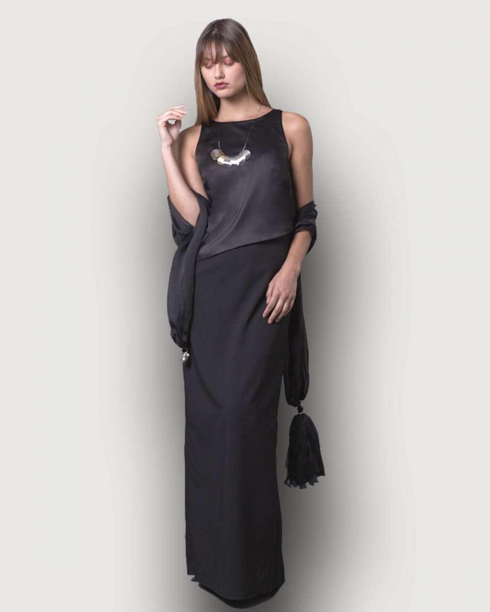 פזית קידר שמלת ערב שחורה משי וסאטן 1890שח צילום אלה אוזן