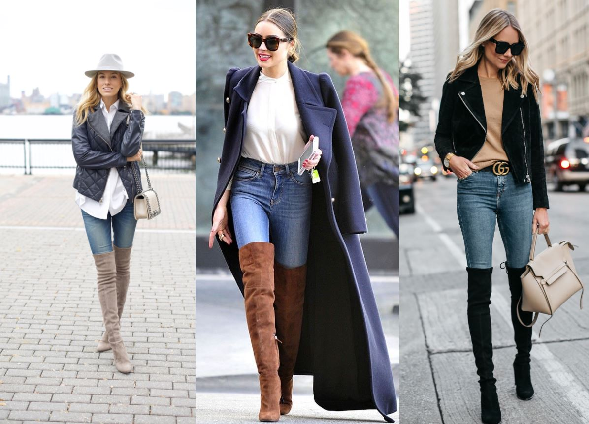 over the knee boots jeans 1