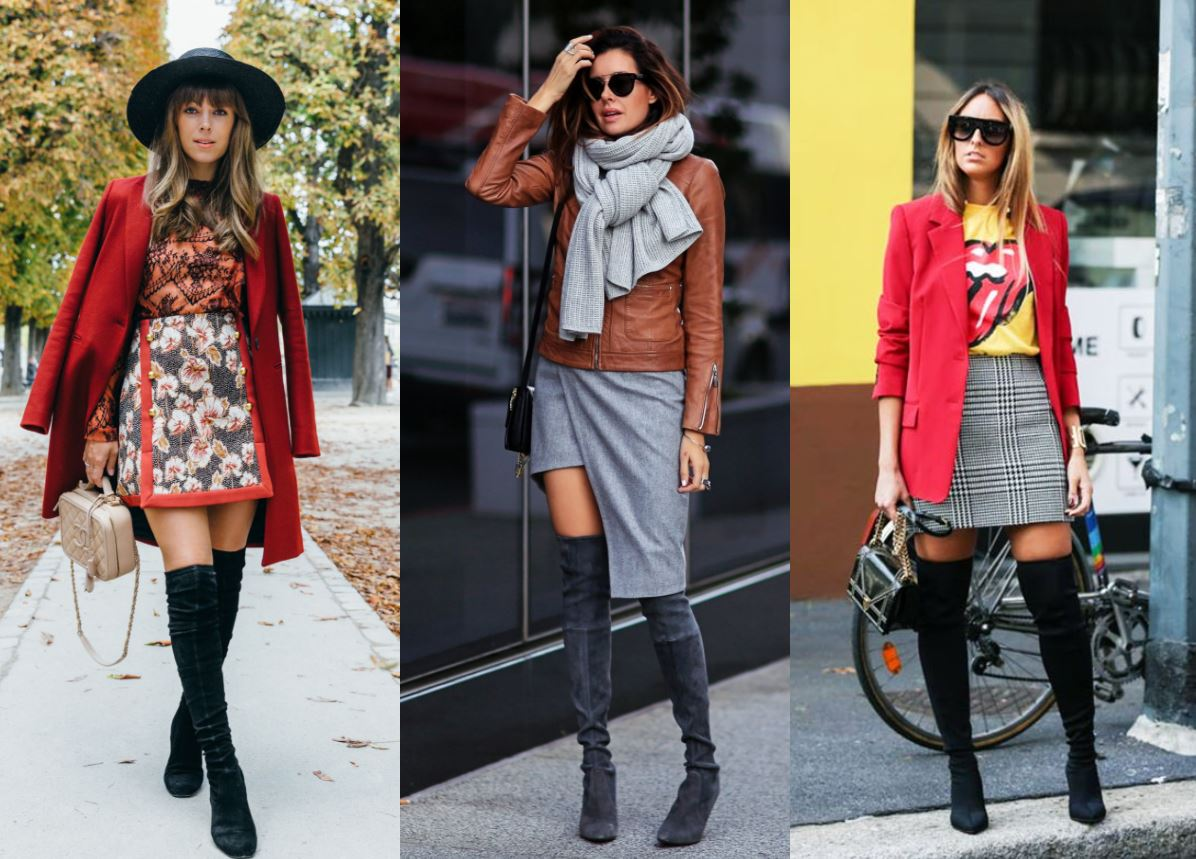 over the knee boots skirt 1