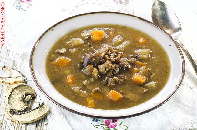 מרק חצילים ופטריות פורצ'יני של דנית סלומון. צילום: יהודה סלומון