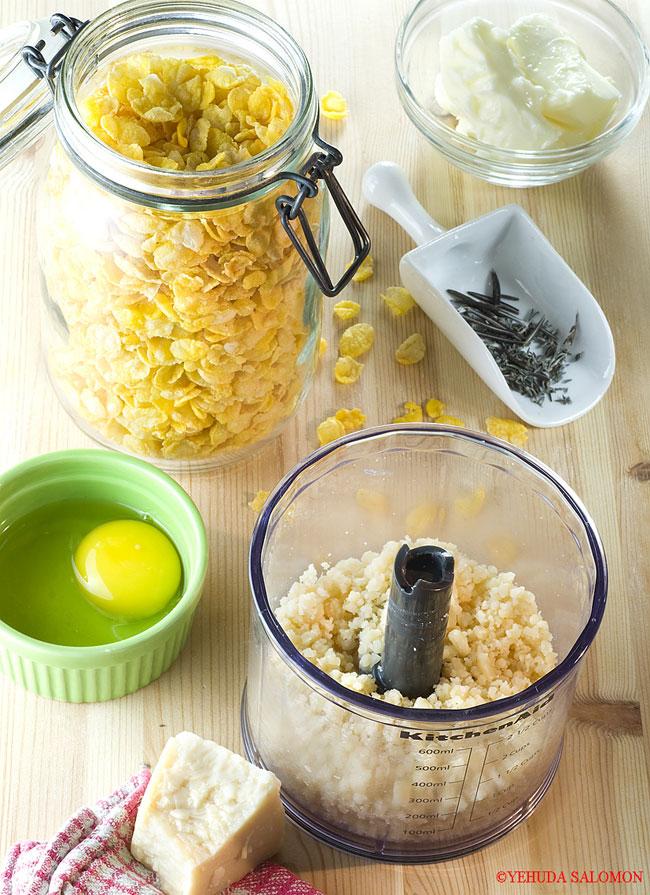 עוגיות גבינה וקורנפלקס של דנית סלומון - המצרכים. צילום: יהודה סלומון