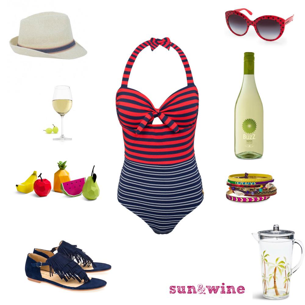 בריכה וכוס יין