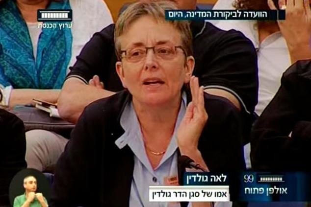 לאה גולדין, אם שכולה, בדיון בוועדה לביקורת המדינה על צוק איתן (צילום מסך מערוץ הכנסת)