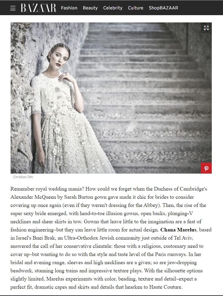 חנה מרילוס כתבה על מעצבי שמלות כלה בהארפרס באזר