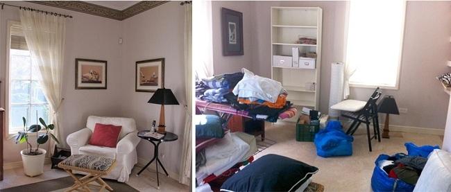 מימין: החדר לאחר שהאקס עזב – איזה בלגאן! משמאל: פינת קריאה קריאה קטנה בחדר השינה שלי (צילום: אן קליינברג)