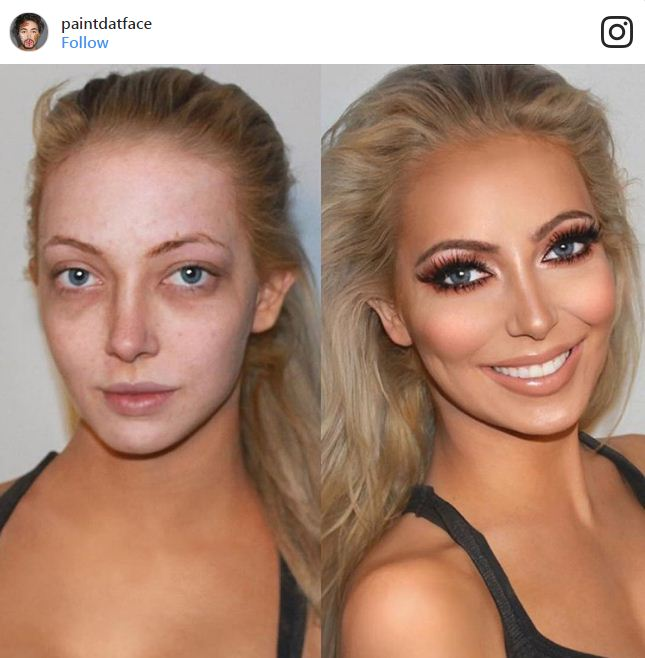 לפני ואחרי איפור עיניים