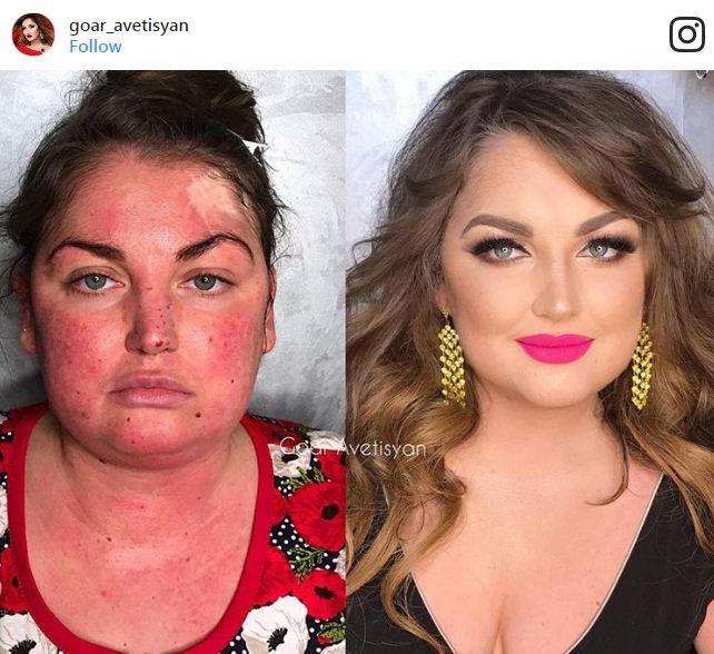 לפני ואחרי איפור ורוד