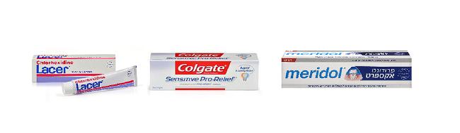 """משחות שיניים: מרידול לחניכיים רגישות, קולגייט לשיניים רגישות, lacer ג'ל לרגישות חום וקור (צילום: יח""""צ)"""