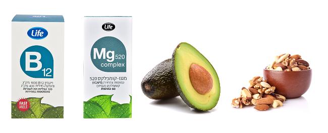 """מזונות שמכילים ויטמין B ומגנזיום (צילום:shutterstock)ויטמין B12, ומגנזיום של life (צילום: יח""""צ סופר-פארם)"""