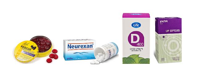 """מגנזיום של אלטמן, ויטמין D של life , נרוקסין של אלטמן לשינה רגוע, וסוכריות רסקיו להפגת מתח (צילום: יח""""צ סופר-פארם)"""