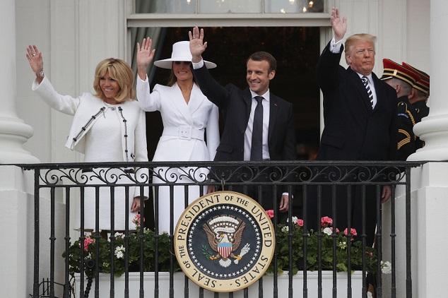 טראמפ ומקרון Photo by Alex Wong/Getty Images)