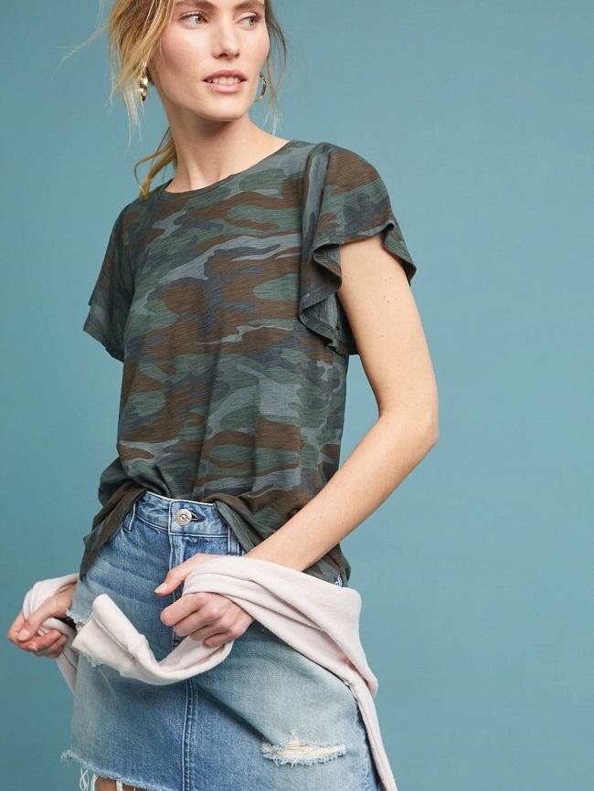 חולצה בהדפס קמופלאז' עם שרוולי מלמלה מחיר 189 שח יחצ