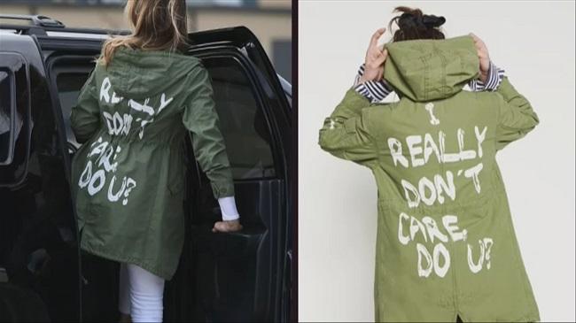 """המעיל של מלניה טראמפ. צילום: יח""""צ"""