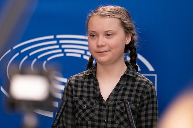 גרטה תונברג, דרשה להפחית את פליטת גזי פחמן (צילום: European Parliament)
