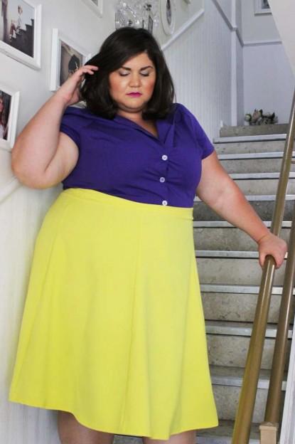 צילה תפור עלייך שמלת ויויאן סגולה 420 ועליה חצאית מרלין צהוב