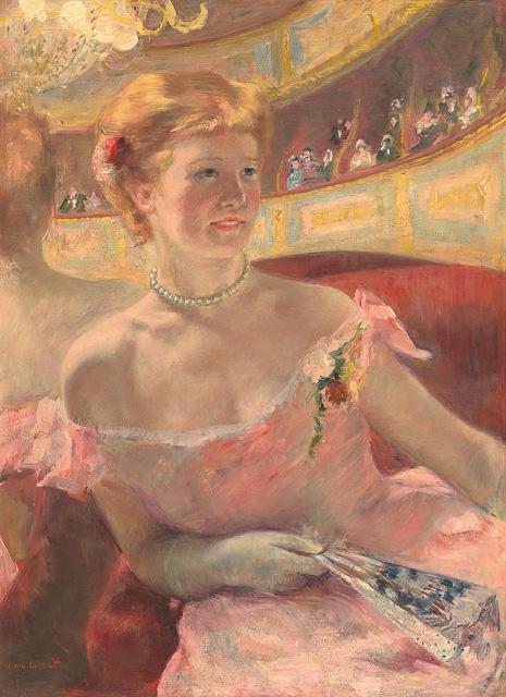 מארי קאסאט, אישה עם מחרוזת פנינים בתא תיאטרון, 1879