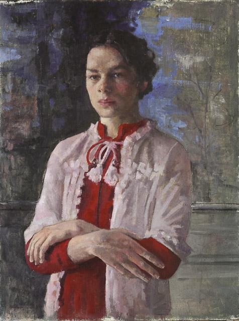 רוני טהרלב - דיוקן עם שמלה אדומה