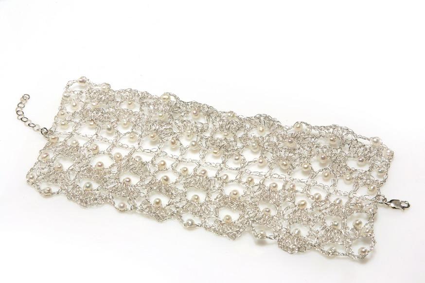 wide crochet bracelet