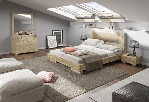 מערכת שינה המשלבת עץ בצביעת פטינה עם ראש מיטה מרופד מדגם LEXUS מחיר 15900 צילום יחצ