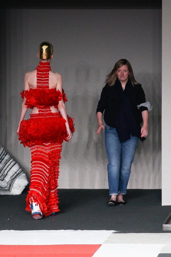 Sarah Burton takes a bow at her Spring 2014 McQueen show.