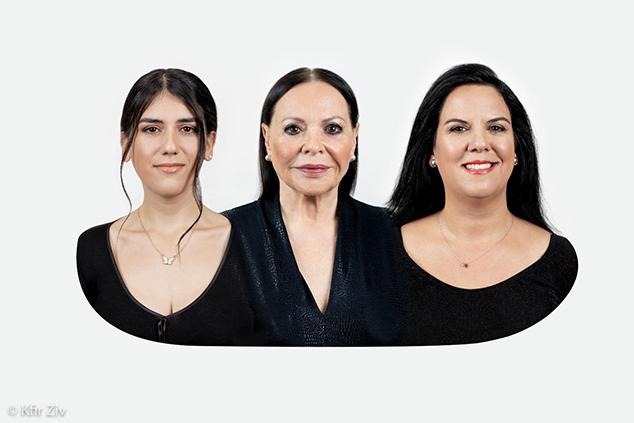 שלושה דורות של יופי וטיפוח. גילה, הגר וסופי. צילום: כפיר זיו